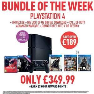 PS4 with DriveClub, The Last of Us (download), Call of Duty: Advanced Warfare and one of GTA V/Destiny for £349.99 at Game this week