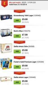 3 boxes of beer different brands for £20 at asda