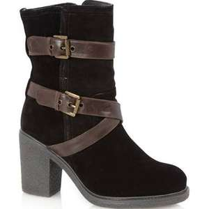 Mantaray Black suede buckle strap high heel calf boots - Debenhams sale - now £19.50 with free standard delivery or click n collect