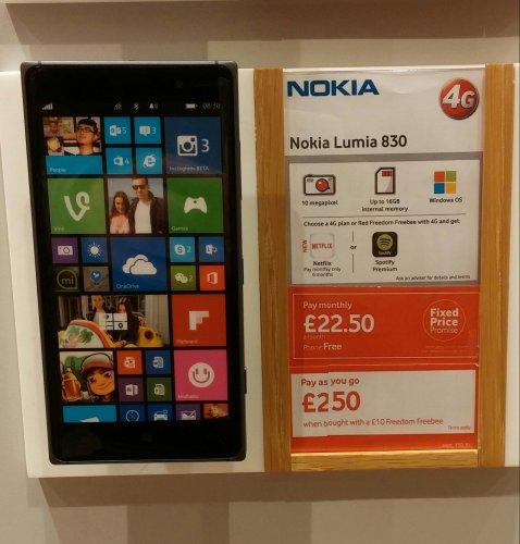 Nokia Lumia 830 £250 @ Vodaphone