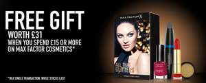 Free Make Up Gift Set (Worth £31) with a £15 spend on Max Factor Products Online/Instore @ Boots
