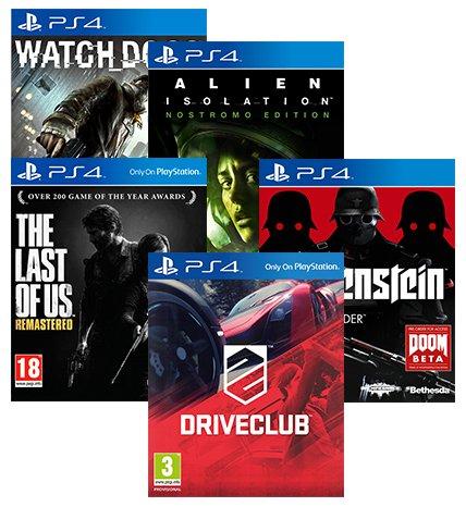 (PS4) Watch Dogs + Alien Isolation + The Last Of Us + Drive Club + Wolfenstein - £85.00 - Rakuten/Shopto