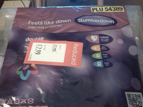 Slumberdown 'Feels Like Down' Mattress Protectors half price e.g. double was £5.99 now £2.99 @ Aldi