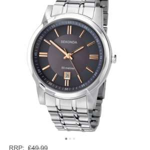 Sekonda Men's Quartz Watch with Black Dial Display and Silver Stainless Steel Bracelet. Was £49.99 Now £20. (£16 with 20% off fashion voucher) @ Amazon
