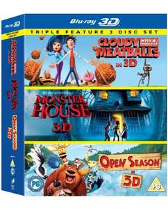 Cloudy With a Chance of Meatballs/ Monster House / Open Season Triple Pack (Blu-ray 3D) [Region Free] for £11.00 at Amazon