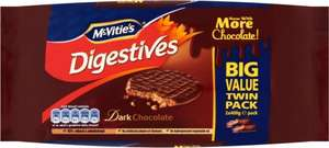 McVitie's Plain Chocolate Digestive Biscuits (2 x 400g) was £2.50 now £1.50 @ Sainsbury's