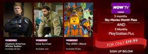 Now tv movies for 3 months and Ps plus for 3 months £19.99