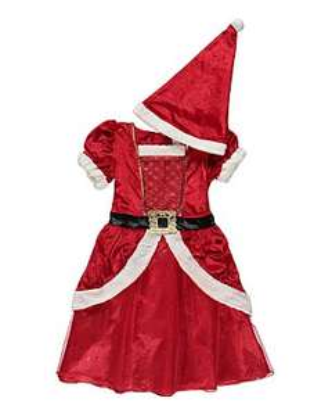 Now Only £4 Each! Kid's Christmas Fancy Dress Costumes Elf/ Miss Santa / Christmas Tree/ Angel / Donkey / Santa Outfits @ Asda George