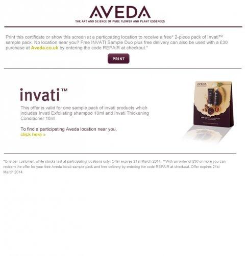 Free Sample Aveda Invati Shampoo & Conditioner (In-Store)