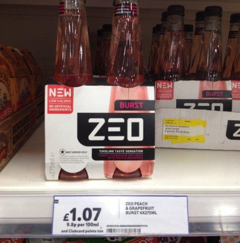 ZEO Grapefruit Burst 4 Pack £1.07 Tesco instore (also had Lemon Zest same price) .. Not sure if online !