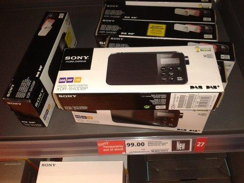Sony XDR S40DBP DAB RADIO £15 @ Tesco
