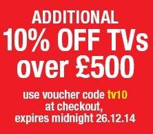 10% of TV over £500 with CODE (EG: 4K LG 49UB850V £764.10 delivered) @ Hughes!