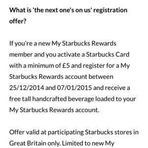 Free Tall Drink from Starbucks if New Customer registering a Rewards Card min top up £5