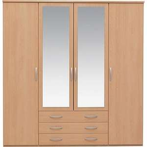 New Hallingford 4 Dr 3 Drw Mirrored Wardrobe - Beech Effect..... £191.99 @ at ARGOS