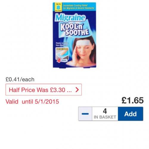 Kool n Soothe Migraine strips HALF PRICE £1.65 @ Tesco