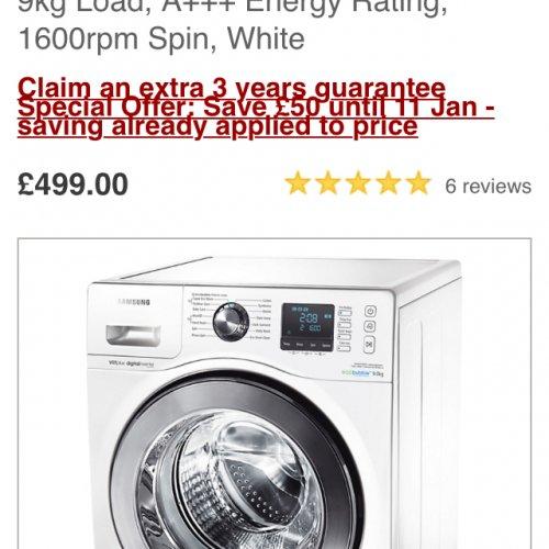 Samsung eco bubble 9kg A+++ £499 @ John Lewis