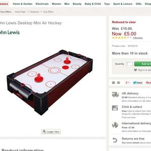 Desktop mini air hockey or mini football table both now £5 at john lewis online, free click and collect.