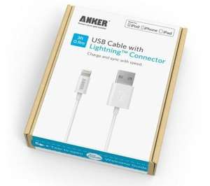 [Apple MFI Certified] Anker® Lightning to USB Cable 3ft / 0.9m for iPhone 6 Plus 5S 5C 5, iPad Air 2, Mini 3, iPod 5th generation, and iPod nano 7th generation £6.99 Sold by AnkerDirect and Fulfilled by Amazon  (free delivery £10 spend/prime)