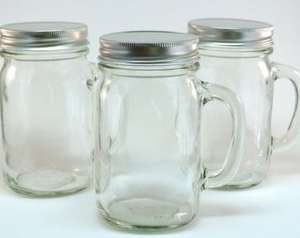 Mason Jar Glasses with Handles and screw on lids, 69p Instore @ Home Bargains