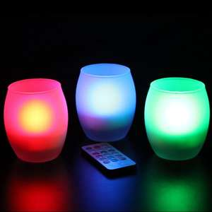 Frostfire Mooncandles Frosted Glass Colour Changing Candles with Remote Control, Set of three £14.50 @ Amazon