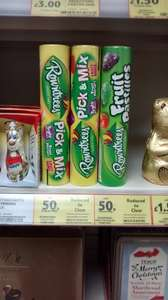 rowntrees pick n mix or fruit pastilles tubes 50p from tesco