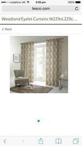 """Woodland eyelet 100% cotton lined curtains 168cm x 137cm 66 x 54"""" £7.50 was £30 Tesco Direct free C&C"""