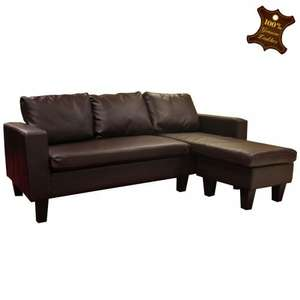 Melbourne Brown (also in black) Bonded Leather Corner Sofa £99.99 (+£38 delivery) - £137.99 @ TJ Hughes