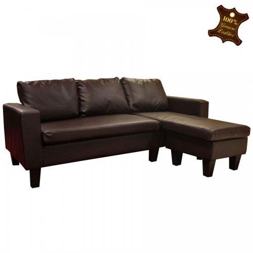 Melbourne Brown (also in black) Bonded Leather Corner Sofa £99.99 (+£38 delivery) - £137.99 @ TJ Hughes