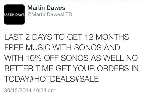 10% off Sonos @ martin Dawes