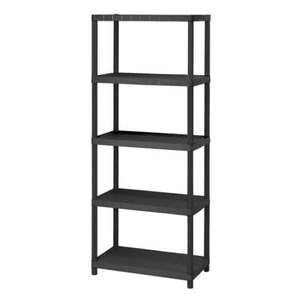 Homebase 5 tier plastic shelving Half price £34.99 reduced to £17.49 1.7m high, 150kg load or £14 when you buy three