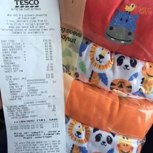 Tesco long sleeved body suits 6-9 months- Priced at £6 scanning at £2