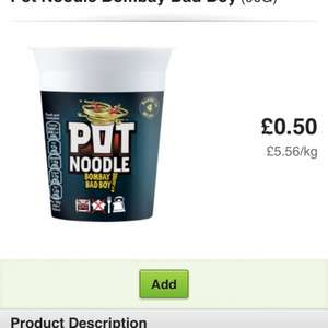 Pot noodles bombay bad boy 90g 50p asda other flavours also available