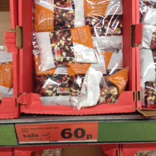 Sainsburys basic peanut and raisin mix from £2 to 60p