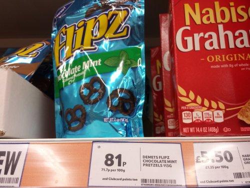 Flipz mint chocolate coated pretzels 81p @ Tesco
