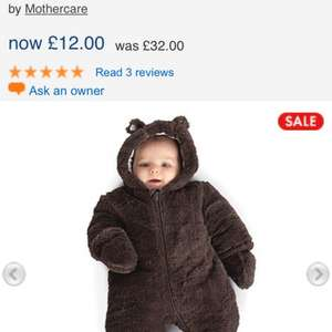 Brown fluffy snowsuit £12 @ Mothercare