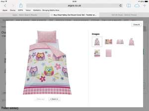 Owl toddler/cot bed duvet cover set now £4.99 at Argos was £9.99