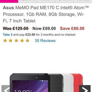 Asus tablet £39 with code at very (New accounts only) - £69
