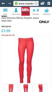 womens red skinny jeans £7.98 delivered @ mandmdirect
