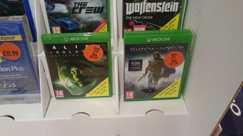 Alien isolation nostromo edition £22.99 Shadow of Mordor £27.99 (xbox one) at sainsburys
