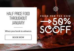 50% off all food on all days at Revolutions when you book in advance