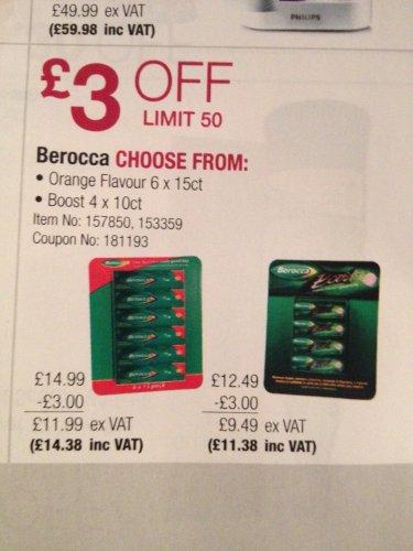 Berocca Orange £14.38 for 6 x 15 (£2.40ea) @ Costco