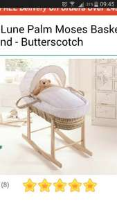 Moses Basket AND Stand Claire De Lune £38.95 plus p&p £43.90 Use code 4B011 at basket. @ emmasdiary