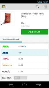 Champion French Fries (1kg) - 59p @ Aldi or FREE with Checkoutsmart Cashback