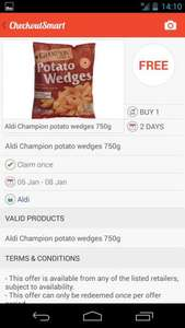 Champion potato wedges (750g) - 59p @ Aldi or FREE with Checkoutsmart Cashback
