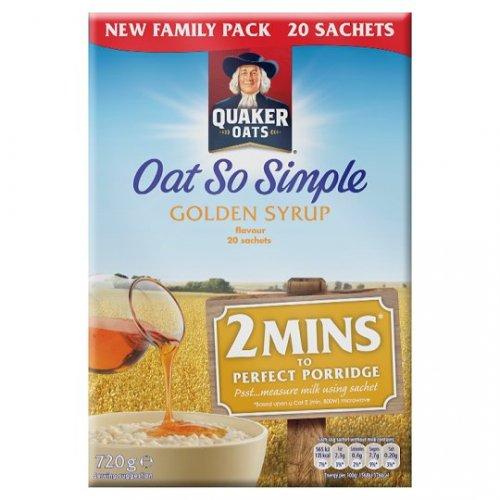 TESCO Quaker Oat So Simple Golden Syrup Porridge 20 X Sachets £1.99