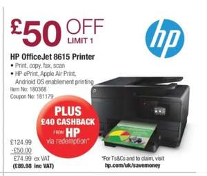 HP OfficeJet 8615 all in one printer £89.98 @ Costco  (£49.98 after cash back - £150 other places)