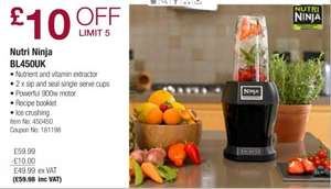 £10 off  Nutri Ninja BL450UK now £59.98 inc VAT @Costco from Monday 12/1