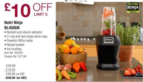 £10 off  Nutri Ninja BL450UK now £59.98 inc VAT @Costco from Monday 12/1