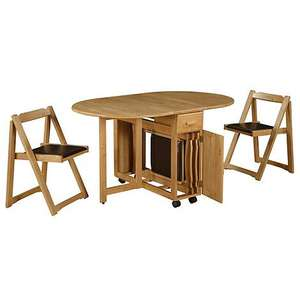 Wooden Stowaway Table and 4 Chairs £225 delivered with code @ Debenhams