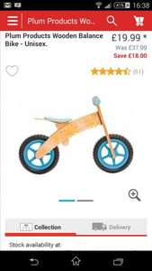 Plum Products Balance Bike Half Price - £19.99 @ Argos